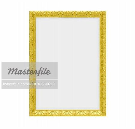 Isolated golden frame over white background