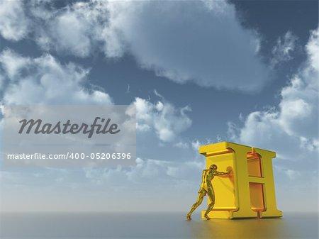 golden man figure pushes the letter h under cloudy blue sky  - 3d illustration