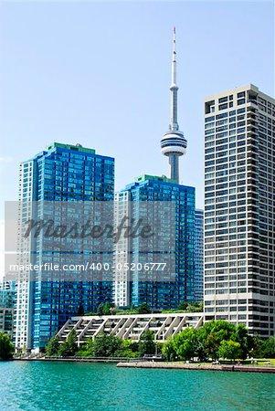 Toronto harbor skyline with CN Tower and condos