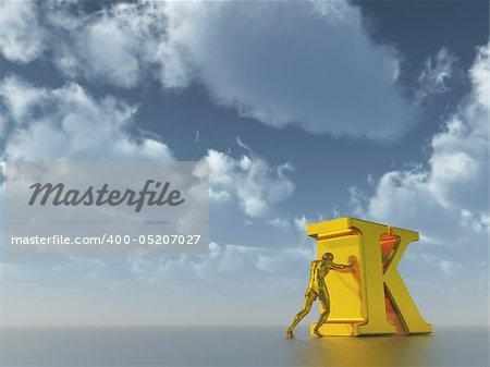 golden man figure pushes the letter k under cloudy blue sky  - 3d illustration