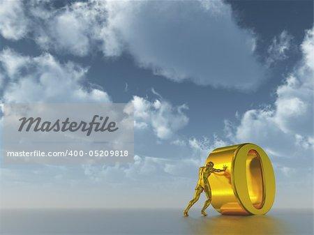 golden man figure pushes the letter o under cloudy blue sky  - 3d illustration