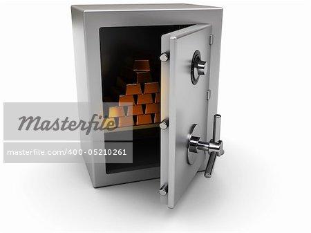 3d illustration of steel safe with golden bricks inside