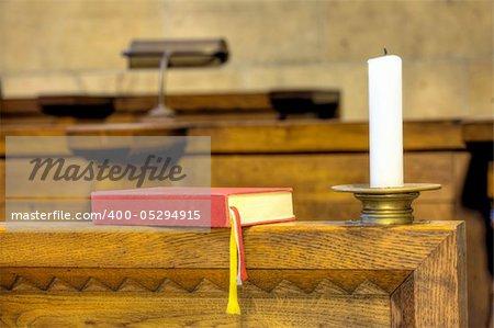 Saint Vitus Cathedral  Prague, Prague castle, Czech Republic - interior -choir chapel.Detail of hymnal and candle