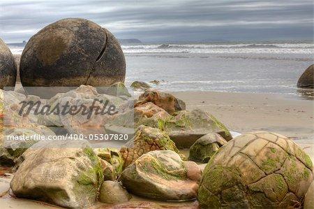 Rock formation called Moeraki Boulders in New Zealand