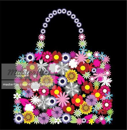 vector illustration of a floral bag