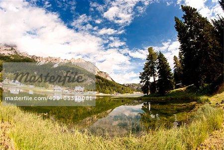 Lake of Misurina on Dolomites Mountains, Italy