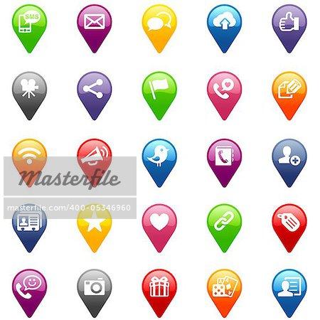 Social media navigation icon set