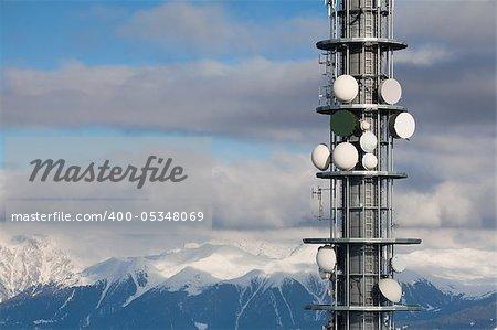 Communication antenna tower and satellite