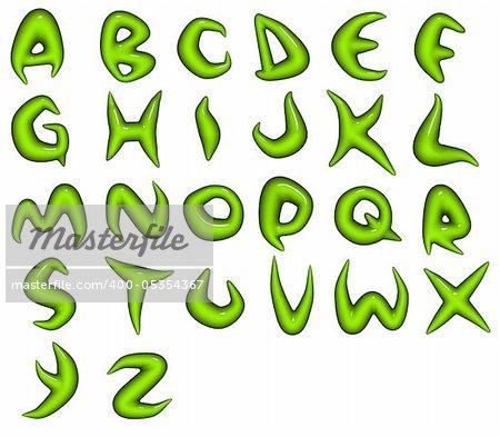 3d render of green bio eco alphabet fonts