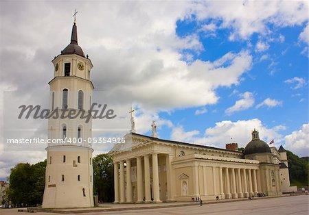 white roman catholic cathedral of Vilnius, Lithuania