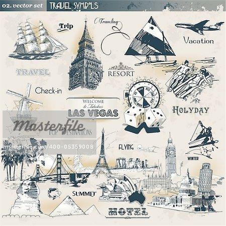 Set of different vintage travel symbols