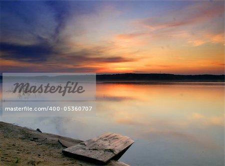 Wonderful sunrise over river in Russia