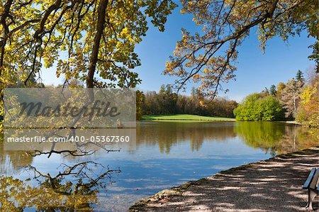 Pond in the famous autumn park