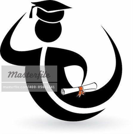 Illustration art graduation people with isolated background