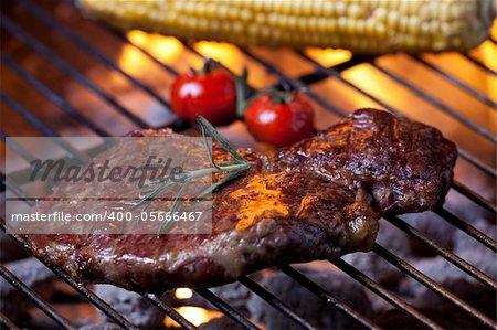 closeup of a steak on a grill