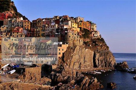 The village of Manarola at sunset. Cinque Terre, Liguria, Italy