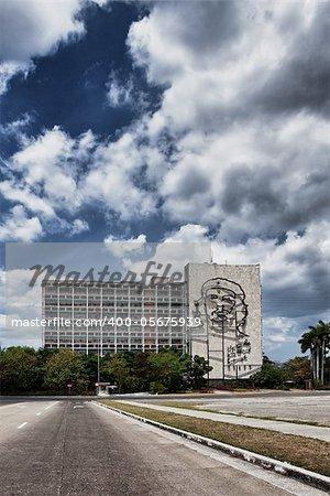 Facade with Che Guevara relief near Revolution Square in Havana