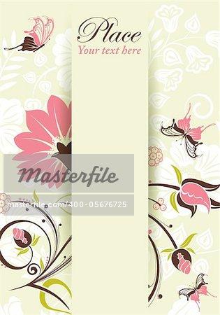 Flower frame with butterfly, element for design, eps10 vector illustration