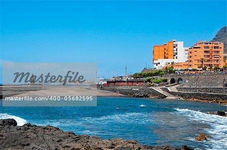 view of a urban beach in Bajamar, Tenerife, Spain