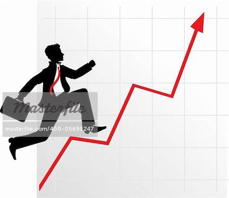 Running businessman on successful diagram vector illustration