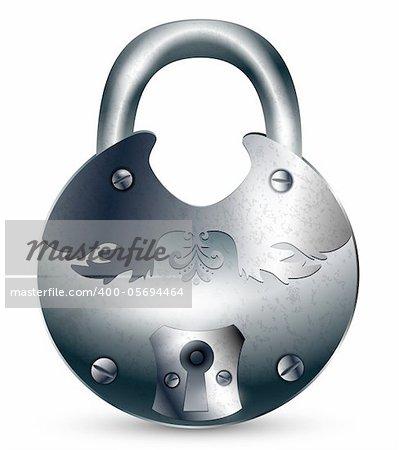 illustration of the vintage metal padlock over white background