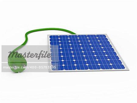 3d solar power panel with green plug
