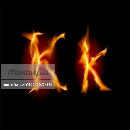 Fiery font. Letter K. Illustration on black background