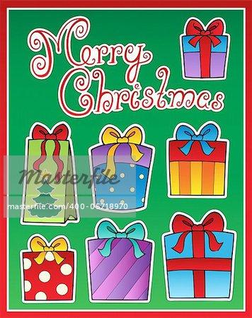 Christmas theme greeting card 2 - vector illustration.