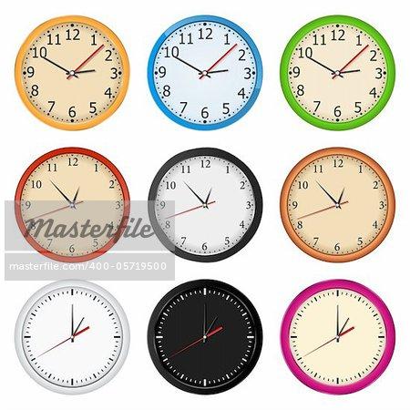 Vector set of wall clocks