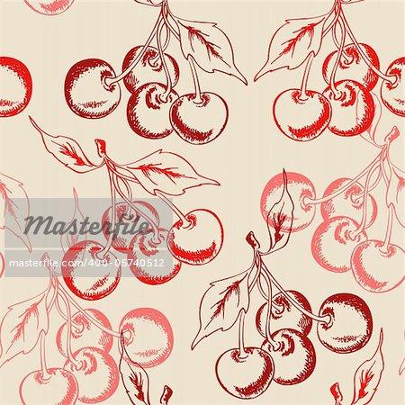 vector cherry seamless pattern