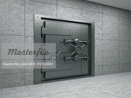 3d illustration of banking metallic door