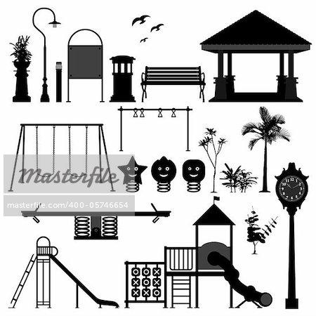 A set of children playground equipments.