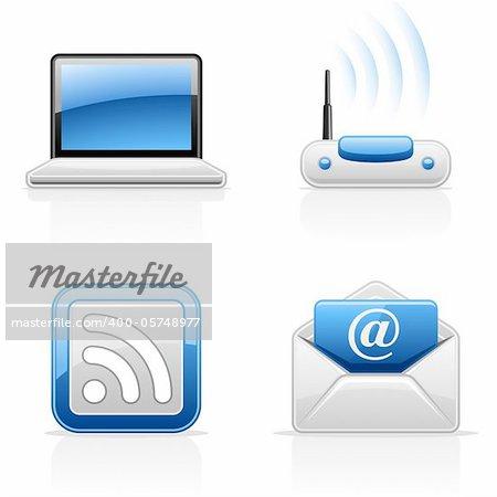 Internet communication vector icons on white background