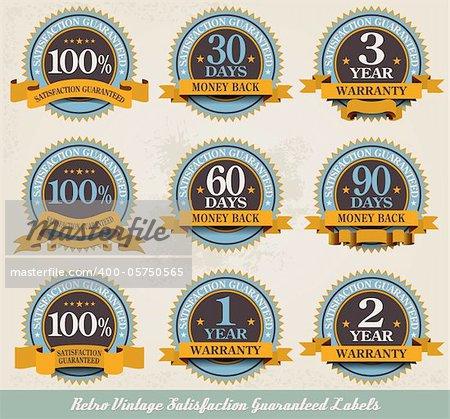 Retro vintage 100% satisfaction guaranteed labels