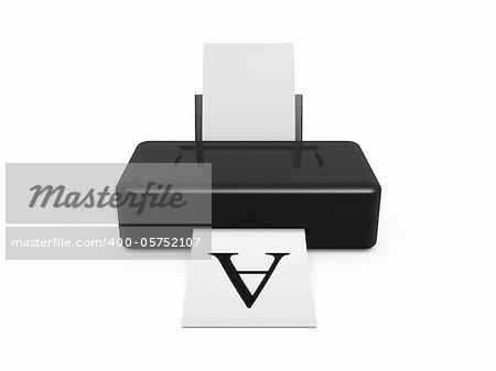 black printer print test font on white background