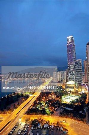 magic hour in downtown city,  hongkong