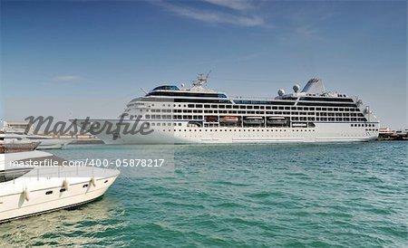 Cruise liner in Yalta port. Crimea. Ukraine