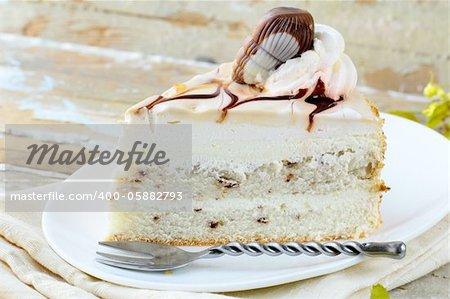 White Cream Icing Cake with Chocolate