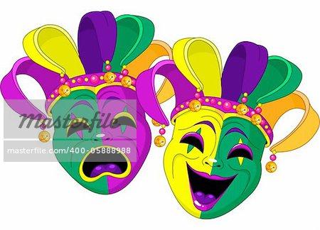 Mardi Gras Comedy and  Tragedy Masks
