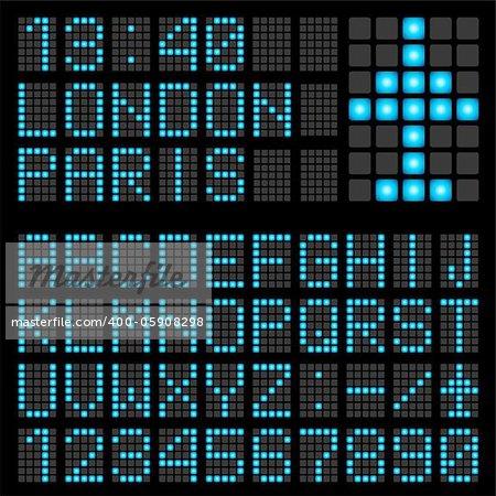 Set of blue letters on a mechanical timetable. Illustration of the designer