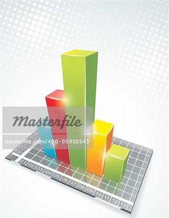illustration of bar graph on glass