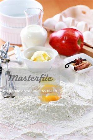 Baking ingredients for apple pie