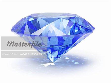 3d illustranion of diamond jewel on white background