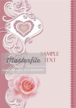 invitation card with vintage frame rose