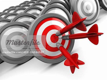 3d illustration of darts, right target concept