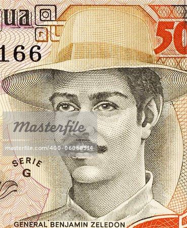 Benjamin Zeledon (1879-1912) on 5000 Gordobas 1985 Banknote from Nicaragua. Lawyer, politician and Nicaraguan military awarded the posthumous title of National Hero of Nicaragua.