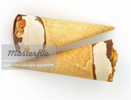 chocolate and vanilla ice cream with  waffle cone