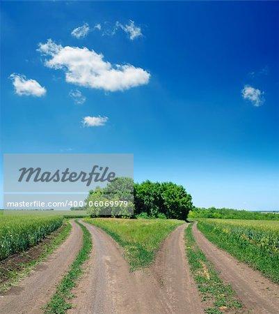 two rural road in green field