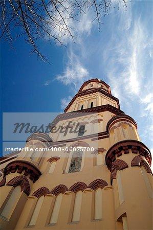 Orthodox ancient Church of St. Nicholas at Vilnius, Lithuania. Deep-blue sky