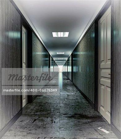 Dark, mystical  corridor  illustration concept
